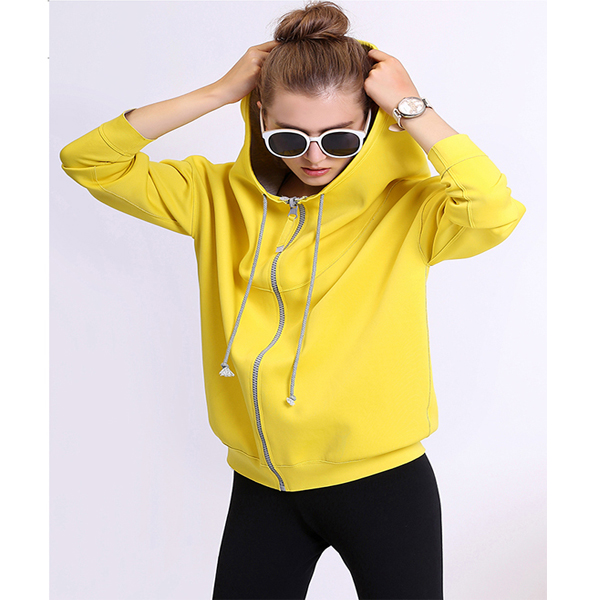 Yellow hoodie with full zip