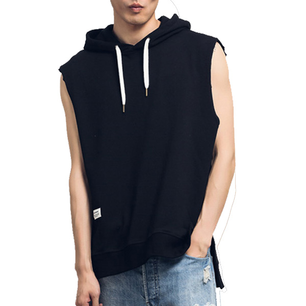 black 100% cotton hoody sleeveless hoodie YK121