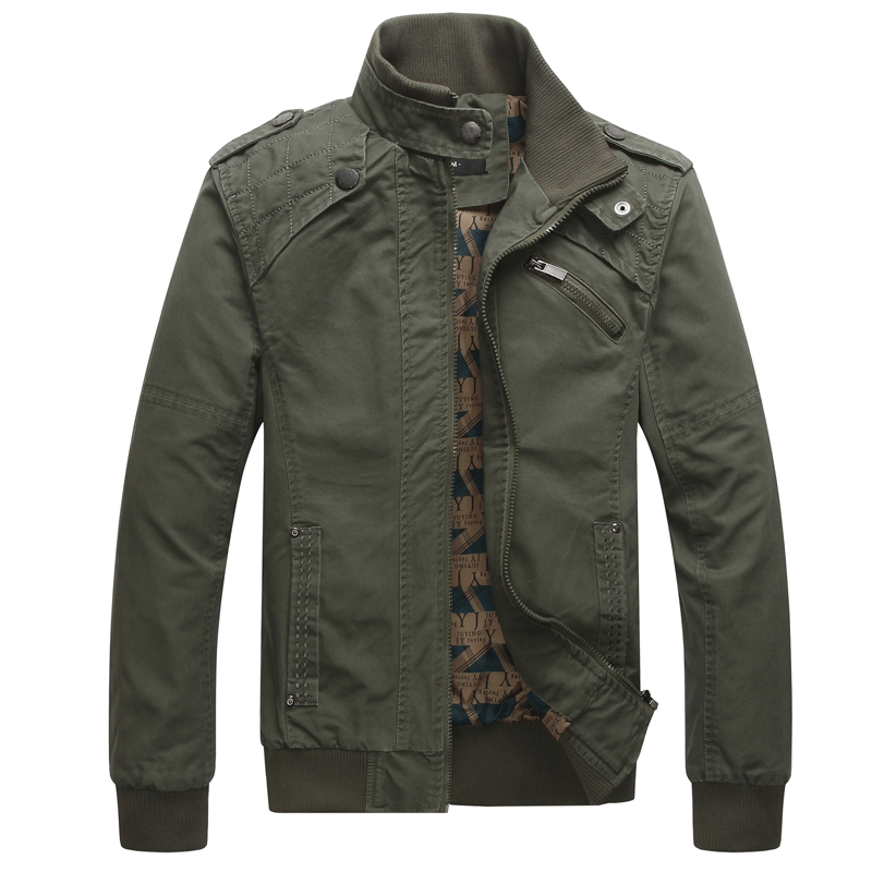 Custom Men Khaki Green Fashion Bomber Full Zip Jacket