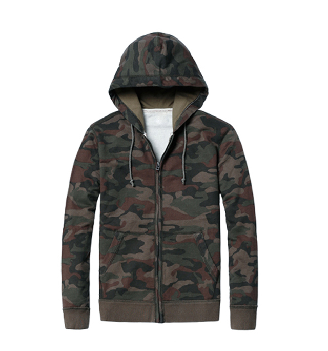 Hot Sale Fashion Style Mens Full Zipper Military Hoodies