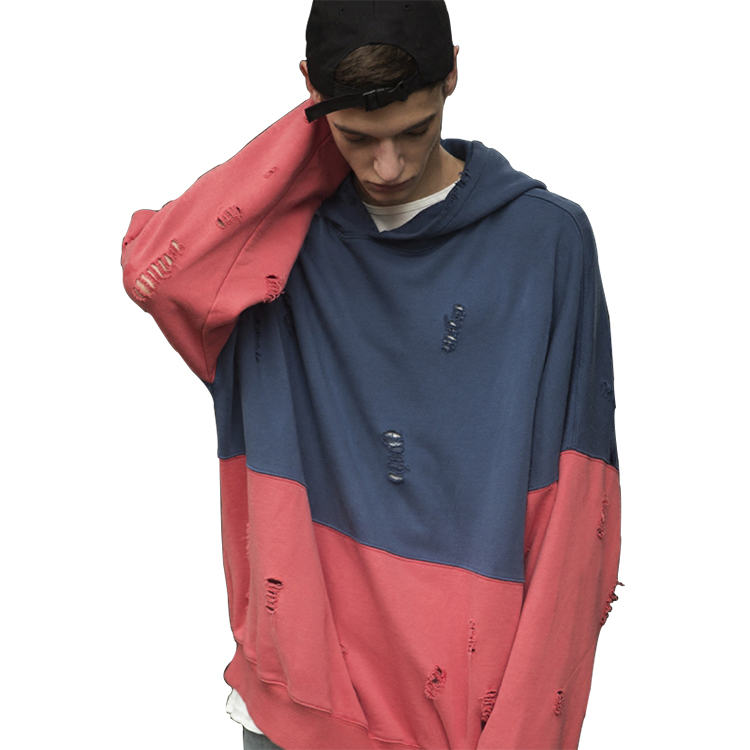 New arrival 2017 streetwear two color oversized ripped hoodie