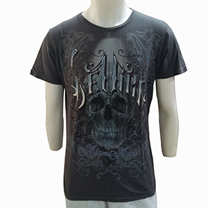 140GSM Black Discharge Printing Chemical Men T-Shirt Custom