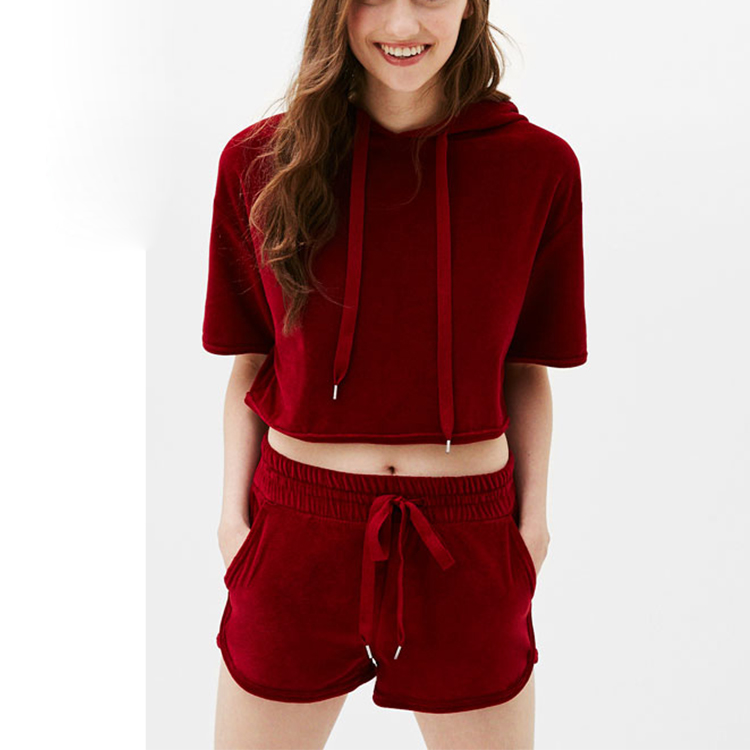 Manufacturers of garment in asia short sleeve velvet hoodie ladies