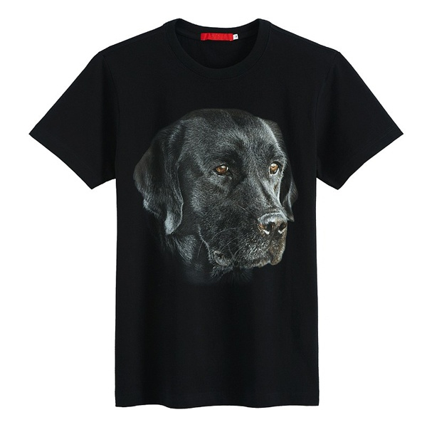 Mens Black Digital Printing T-shirt