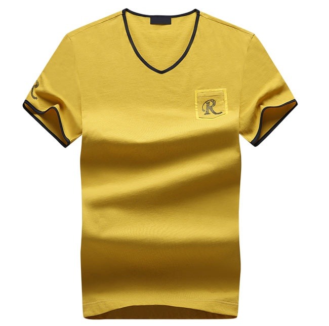 High Quality Embroidery Slim Fit V Neck T Shirt With Chest Pocket